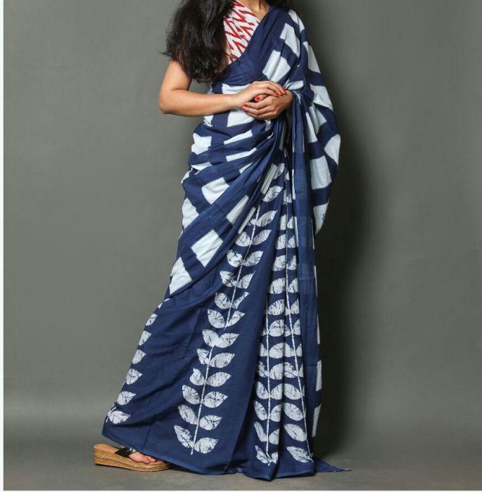 Cotton Saree with Leaf Print