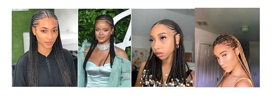 Thin Fulani braids